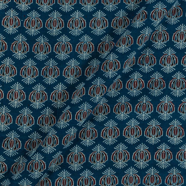 Ajarakh Inspired Indigo Blue Colour Geometric Print 42 Inches Width Cotton Fabric