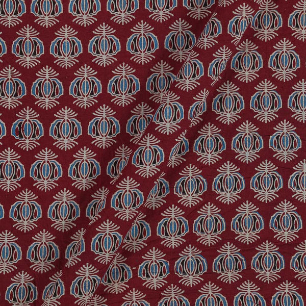 Ajarakh Inspired Maroon Colour Geometric Print 42 Inches Width Cotton Fabric