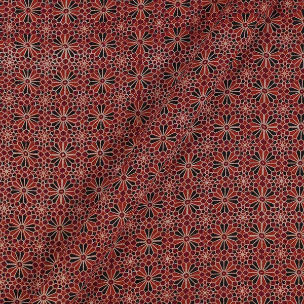 Ajarakh Inspired Brick Orange Colour Geometric Print 42 Inches Width Cotton Fabric
