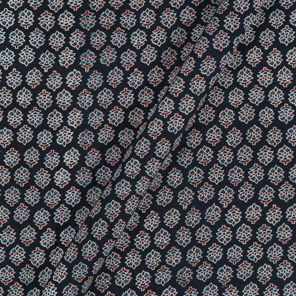 Ajarakh Inspired Black Colour Floral Print 42 Inches Width Cotton Fabric