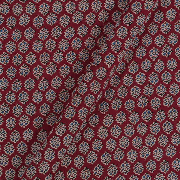 Ajarakh Inspired Maroon Colour Floral Print 42 Inches Width Cotton Fabric
