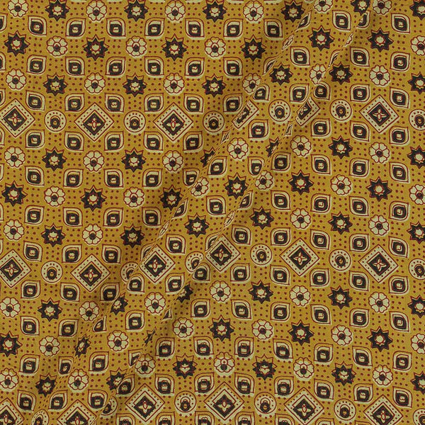 Ajarakh Inspired Mustard Colour Geometric Print 42 Inches Width Cotton Fabric