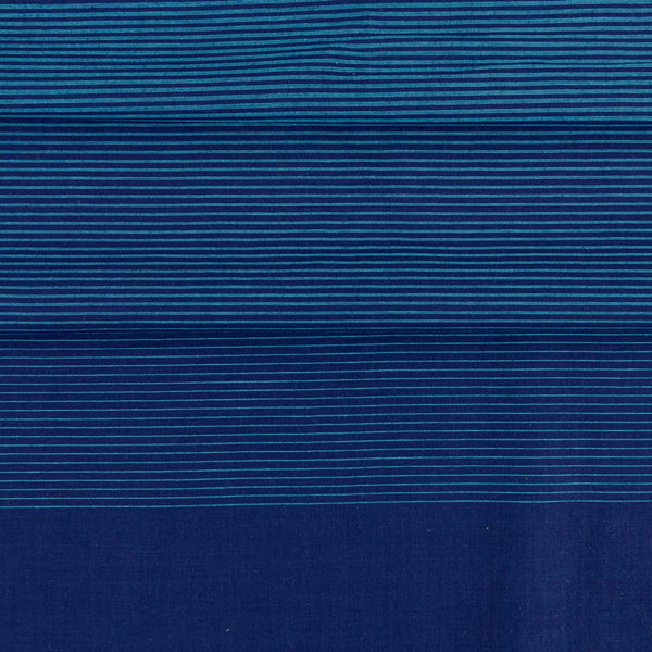 Cotton Blue Colour 46 inches width Shaded Stripes Cotton Fabric