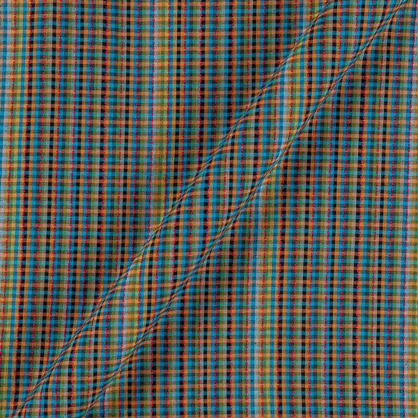 Dobby Cotton Blue Colour 43 Inches Width Multi Checks Jacquard Fabric