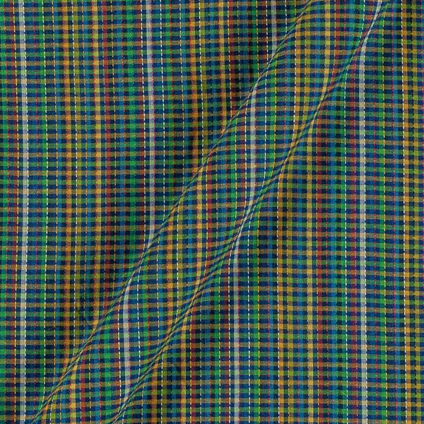 Dobby Cotton Green Colour 43 Inches Width Multi Checks Jacquard Fabric