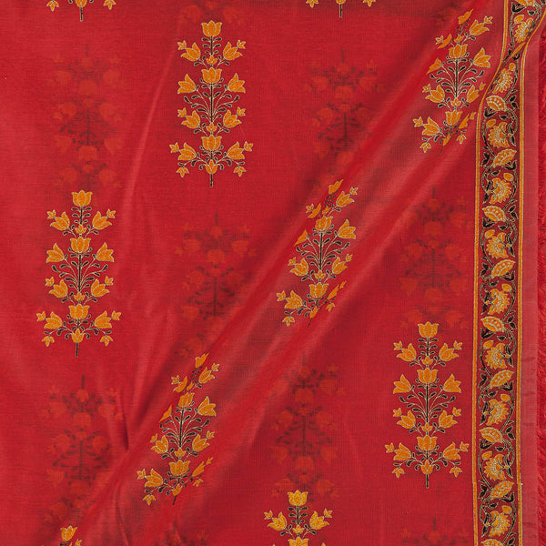 Chanderi Feel Carrot Orange Colour Sanganeri Print 43 Inches Width Fabric