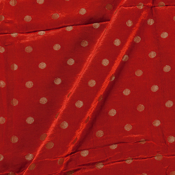 Gaji Saffron Orange Colour 45 inches Width Gold Polka Jacquard Fabric