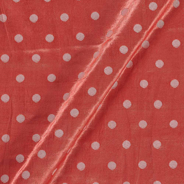 Gaji Hot Coral Colour 45 inches Width Silver Butti Fabric