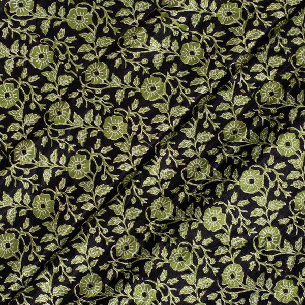 Black Colour Vegetable Block Print Gaji Fabric