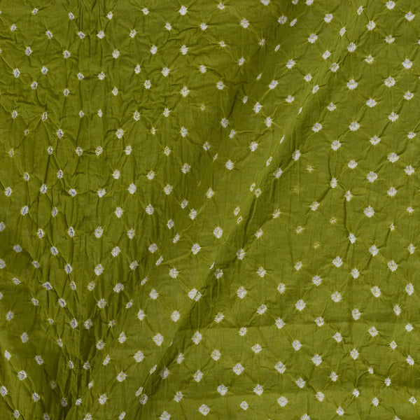 Cotton Mal Mehndi Green Colour 42 inches Width Ek Bundi Bandhani Fabric