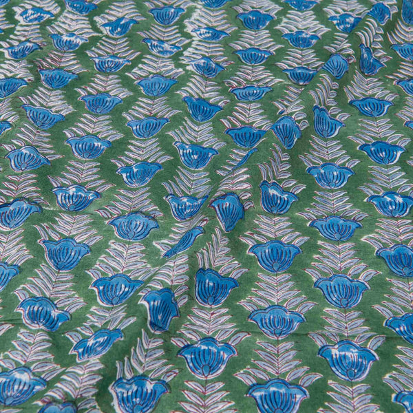 Mal Type Cotton Green Colour Floral Hand Block Print Fabric