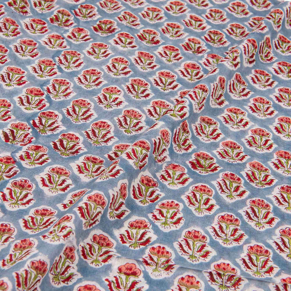 Mal Type Cotton Grey Colour Floral Hand Block Print Fabric