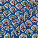 Mal Type Cotton Royal Blue Colour Floral Hand Block Print Fabric
