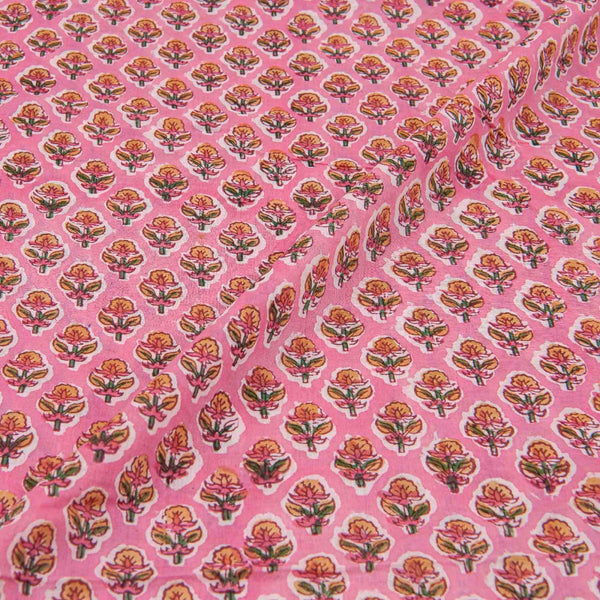 Mal Type Cotton Pink Colour Floral Hand Block Print Fabric