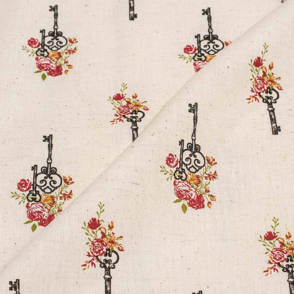 Off White Colour Quirky Print 43 inches Width Flex Cotton Fabric
