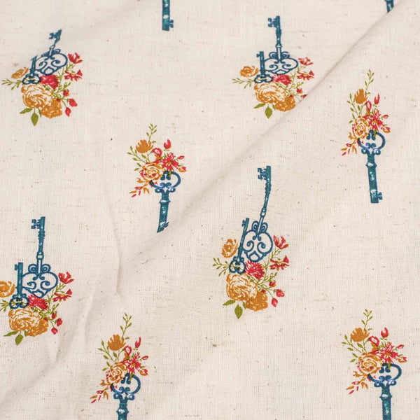 Off White Colour Quirky Print 41 inches Width Flex Cotton Fabric