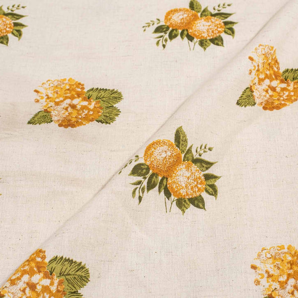 Off White Colour Floral Print 42 inches Width Flex Cotton Fabric