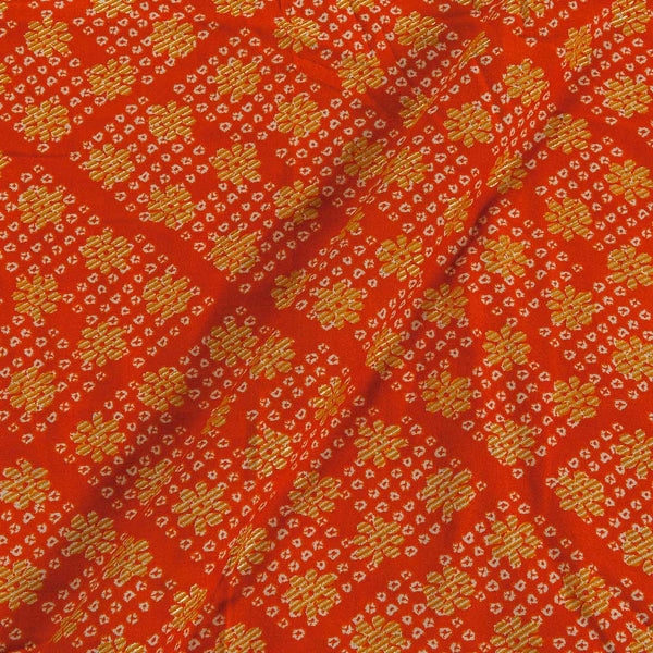 Rayon Tangerine Orange Colour 43 Inches Width Foil Print  Fabric