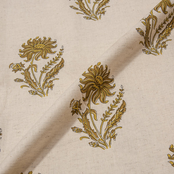Natural Floral Block Print Flex Cotton Fabric