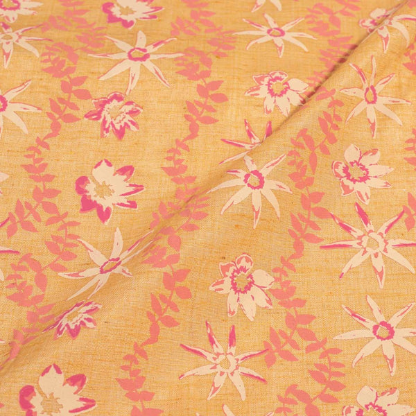 Butterscotch Colour Floral Print Flex Cotton Fabric 42 inches Width