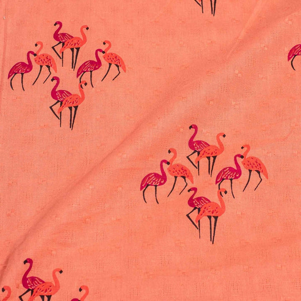 Peach Pink Colour Bird Motif Print Dobby Jacquard Cotton 41 inches Width Fabric