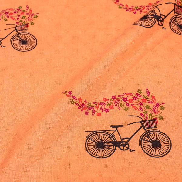 Pastel Orange Colour Cycle Motif Print Dobby Jacquard Cotton 42 inches Width Fabric
