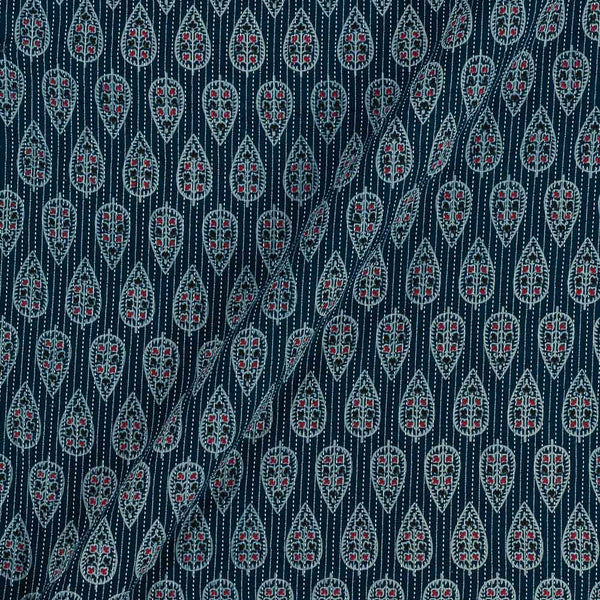 Cotton Steel Blue Colour Leaves Print 43 Inches Width Kantha Doriya Fabric