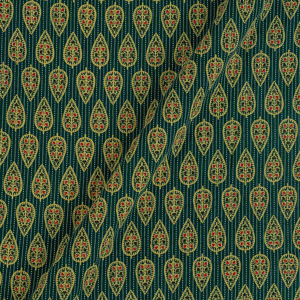 Cotton Bottle Green Colour  Leaves Print 43 Inches Width Kantha Doriya Fabric