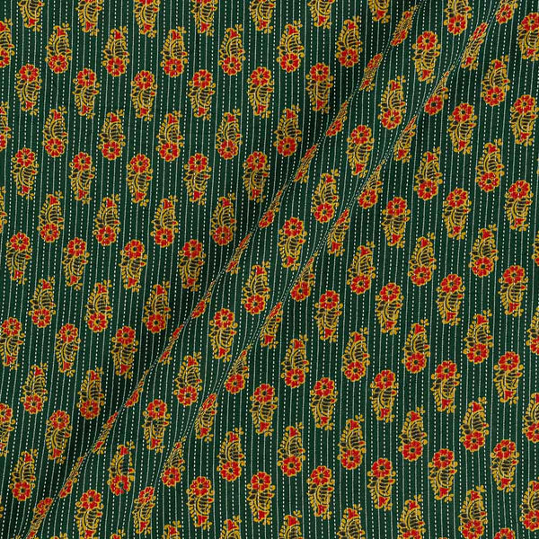 Cotton Bottle Green Colour Floral Print 43 Inches Width Kantha Doriya Fabric