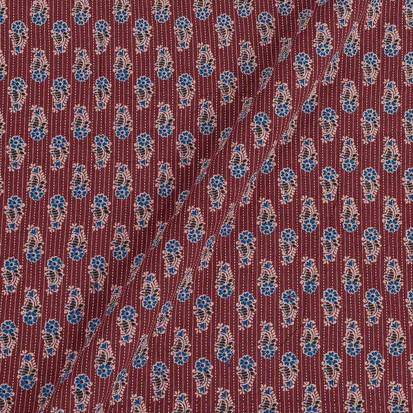 Cotton Maroon Colour Floral Print 43 Inches Width Kantha Doriya Fabric