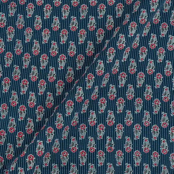 Cotton Steel Blue Colour Floral Print 43 Inches Width Kantha Doriya Fabric