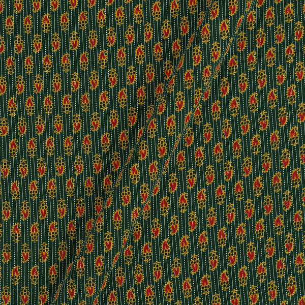 Cotton Bottle Green Colour Paisley Print 43 Inches Width Kantha Doriya Fabric
