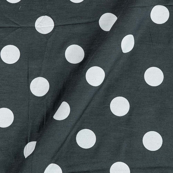 Poly Cotton Steel Grey Colour 42 Inches Width Polka Print Fabric