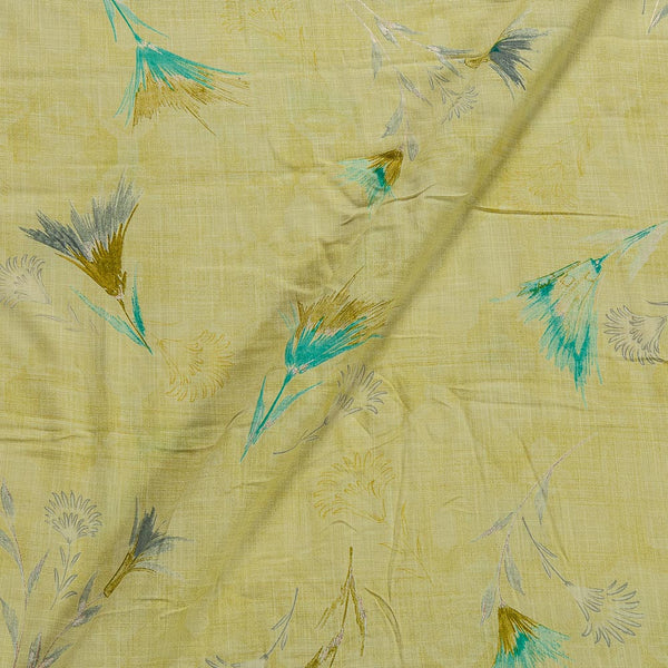 Slub Rayon Pale Yellow Colour 43 Inches Width Floral Foil Print Fabric