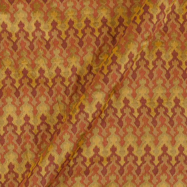 Silk Feel Jacquard Mustard Colour Ikat Pattern 47 Inches Width Fabric