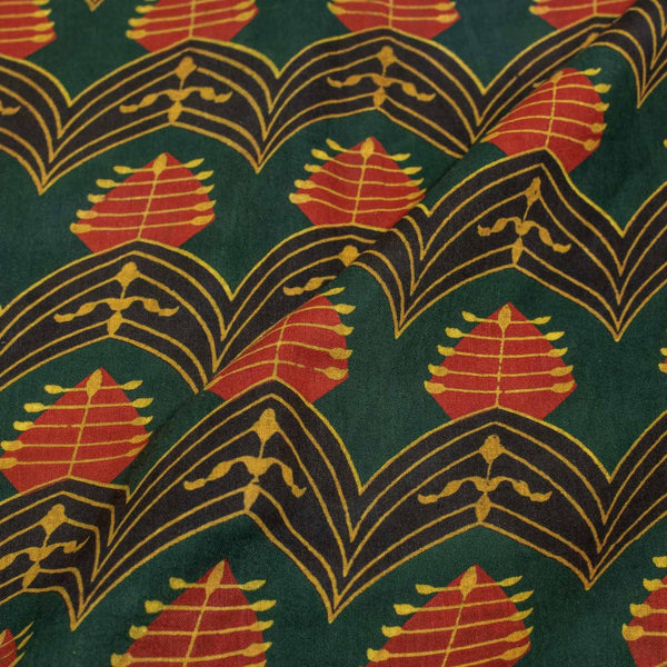Green Colour Gold Geometric Block Print Cotton Fabric