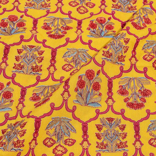 Golden Orange Colour  Gold Foil Print Flex Cotton Fabric