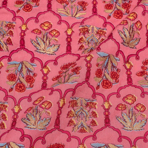 Pink Colour Gold Foil Print Flex Cotton Fabric