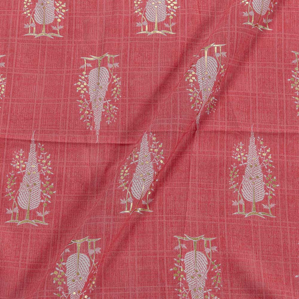 Slub Rayon Carrot Colour 42 Inches Width Foil Leaves Print Fabric