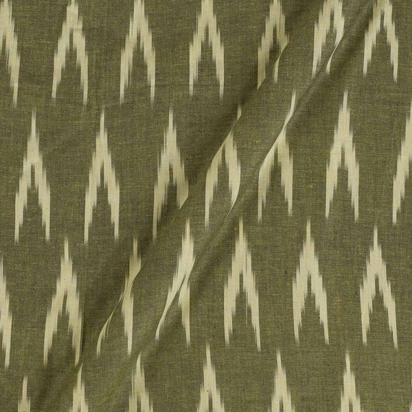 Cotton Khaki Green Colour Woven Ikat Type  Fabric