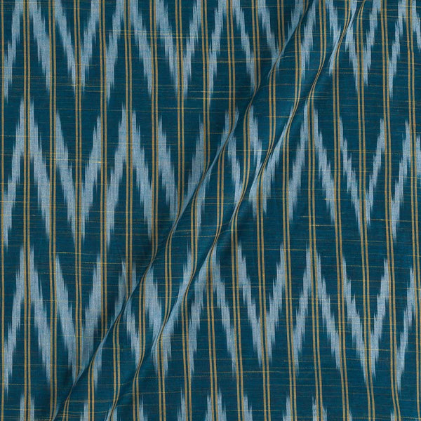 Cotton Steel Blue Colour Woven Ikat Type Fabric