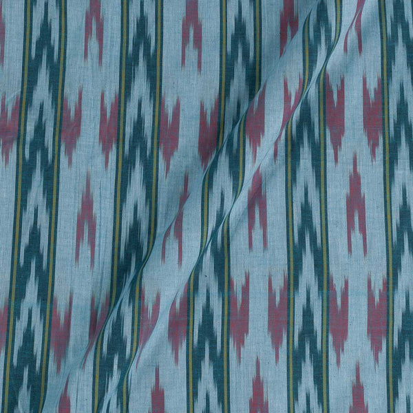 Cotton Sky Blue  Colour Woven Ikat Type Fabric