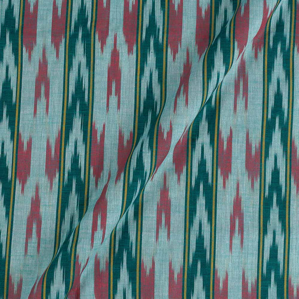 Cotton Aqua Sky Colour Woven Ikat Type Fabric