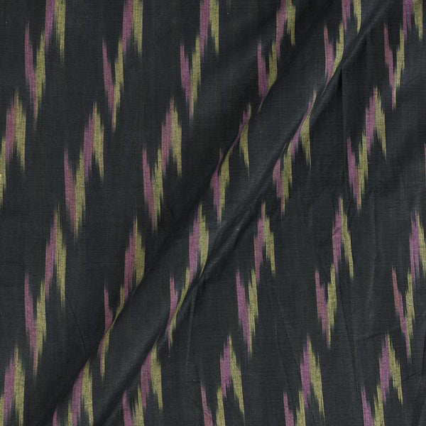 Cotton Black Colour Woven Ikat Type Fabric