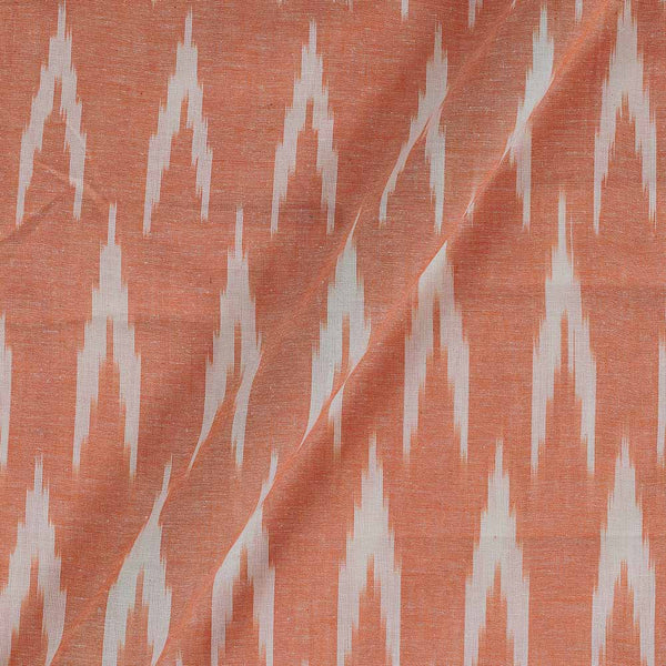Cotton Pastel Orange Colour Woven Ikat Type  Fabric