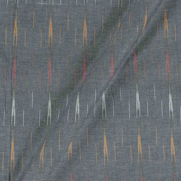Cotton Grey Black Colour Woven Ikat Type Fabric