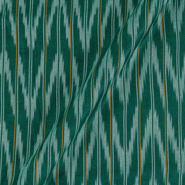 Cotton Green Colour Woven Ikat Type Fabric