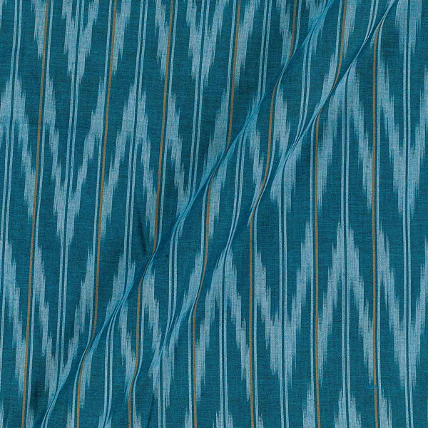 Cotton Teal Blue Colour Woven Ikat Type Fabric