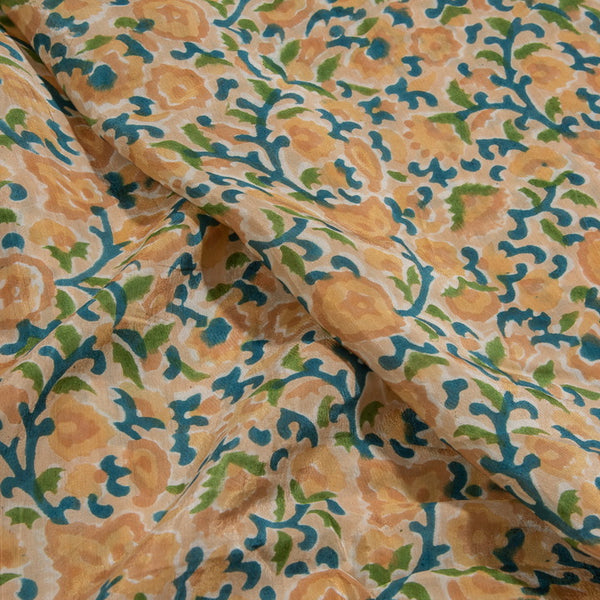 Off White Color Floral Jaal Block Print Viscose Cotton Assam Silk Fabric