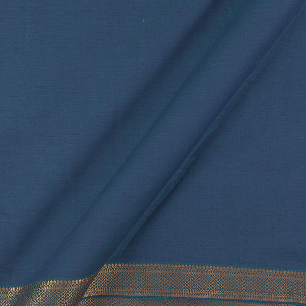 Mangalgiri Cotton Blue To Purple Two Tone Nizam Zari Border 45 Inches Width Fabric